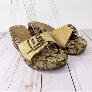 COACH Trevina Suede Wedge Sandals Buckle Size 6.5